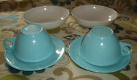 MID CENTURY MELMAC MELAMINE 2 X TURQUOISE CUPS SAUCERS BOWLS