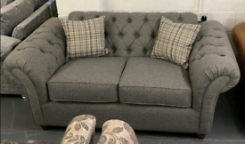 Chesterfield fabric 3 and 2 seater sofa suite