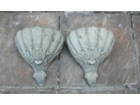 Stone Hanging Wall Containers - Pair - Acanthus Design
