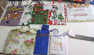 Gift bags, boxes, gift wrap tissue