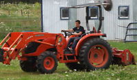TRACTOR WITH TILLER FOR HIRE