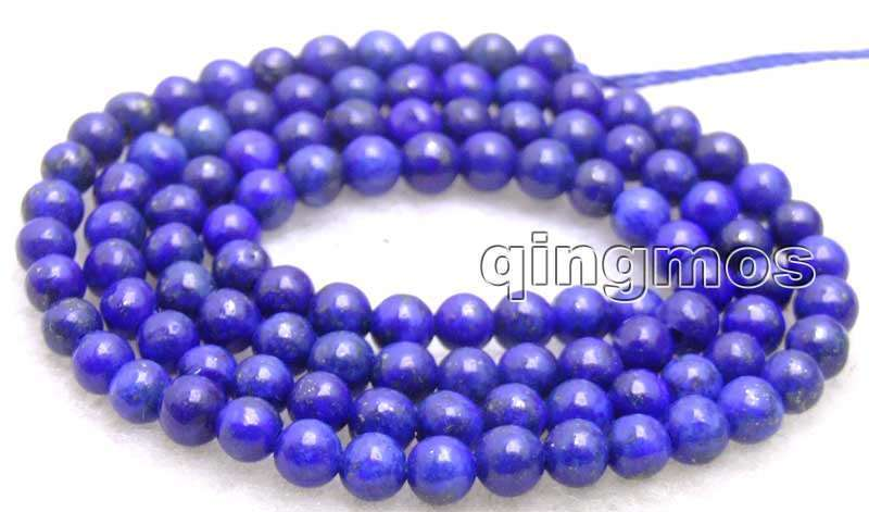 """6mm Round Blue Natural Lapis Lazuli Loose Beads for Jewelry Making Strand 15"""""""