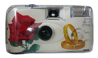 10x Hochzeitskamera Einwegkamera ROSE RINGE ! Hochzeit 27 Aufnahmen Blitz