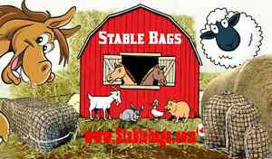 Slow feed hay net bags for livestock feeding