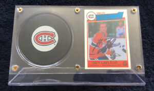 Guy Lafleur Signed 1983 O-Pee-Chee Card + Puck