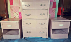 Mid-Century Dresser & Matching Night Tables - Blush Pink