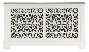 Marlow radiator cover / cabinet satin white finish, feature cast iron grille