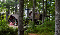 Stunning cottage on 62 acres, lake, private, hot tub,  sauna