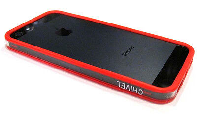 Iphone Silicon Protector (Ultra Slim Silicon Bumper Frame Protector Case for iPhone 5 5S ~ Red Transparent)