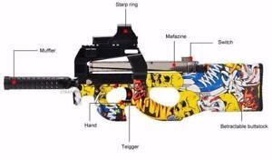 P90 Electric Toy Gun Graffiti Edition Live CS Assault Soft Water Bullet,Free shipping