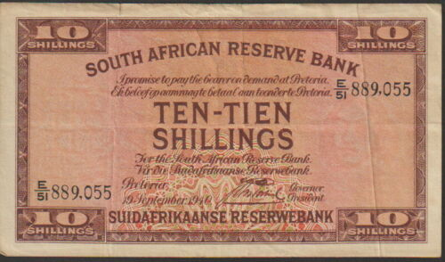 South Africa 10 ShillingsBanknote 19.9.1940 Choice Fine Condition Cat#82-D-055