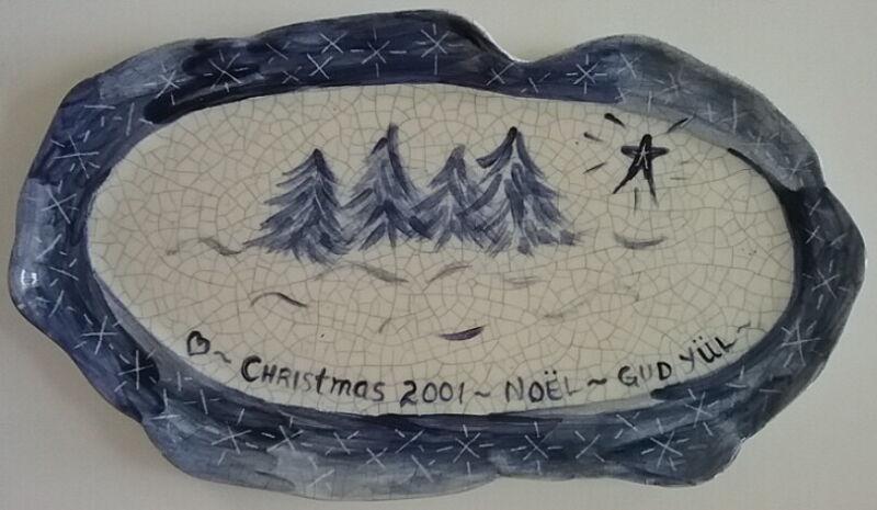 Dedham Pottery Potting Shed Merry Christmas Gud Jul Noel Tray Pine Trees Rare