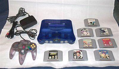 Nintendo 64 Grape System lot Console, 8 Classic N64 Games & Expansion Pak
