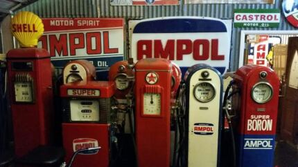 Wanted to buy Petrol pumps Bowsers, Enamel signs pedal cars