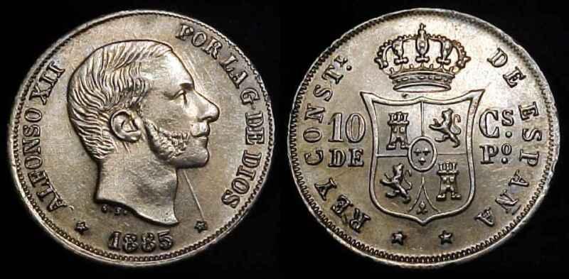 PHILIPPINES 1885 Silver 10 Centimos Ch AU