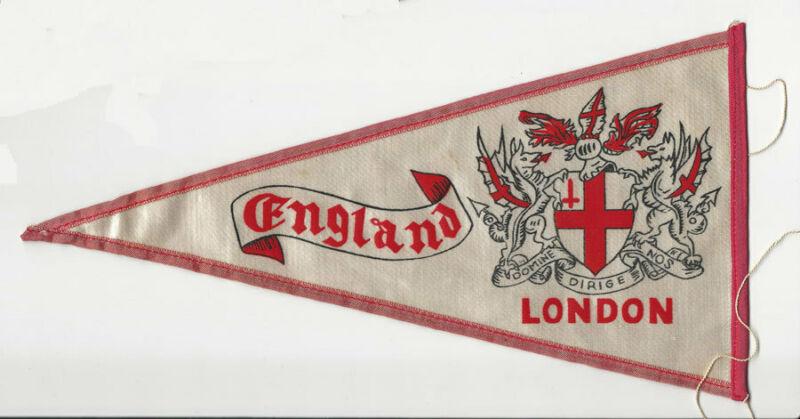 1960's RETRO EUROPEAN CITY PENNANT FLAG LONDON ENGLAND BRIDGE SATIN DOUBLE SIDED