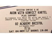 3 Akon Tickets - Sat 4th Nov - Bristol