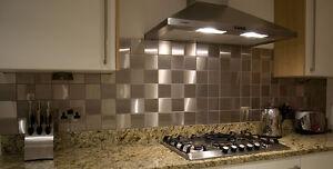 BRUSHED STAINLESS STEEL WALL BATHROOM / KITCHEN SPLASHBACK TILES 98 X 98mm