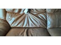 Leather three seater sofa, recliners