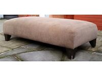 large cushioned fabric foot stool. 123cm x 60cm. brown. In good condition