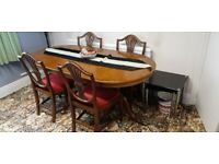 Dining Table & 4 Chairs Dark Wood