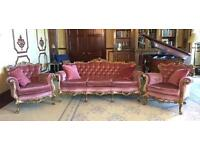 French Louis 3 Piece Suite Carved Gold & Pink Draylon 3/4 Sofa Settee 2 Chairs Italian silik antique