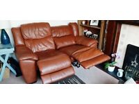 Leather two seater electric reclining sofa