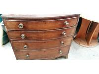 Large bow-fronted mahogany chest of drawers