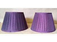 x2 purple silk look lampshades