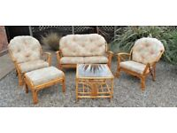 CANE CONSERVATORY FURNITURE, FIVE PIECE SUITE, GT YARMOUTH NORFOLK