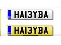 PRIVATE NUMBER PLATE FOR SALE, HA13YBA, READY FOR TRANSFER, IDEAL FOR ANYONE CALLED HABIBA