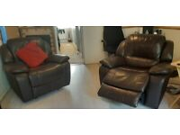 Leather reclining 3 seater sofa, 1 single recliner and 1 electric recliner £550 ono