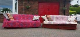 2 x 3 seater large sofas