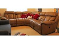 100% real leather corner sofa with two power recliners