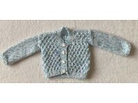Baby Boy Hand Knitted Blue Cardigan 3 - 6 Months
