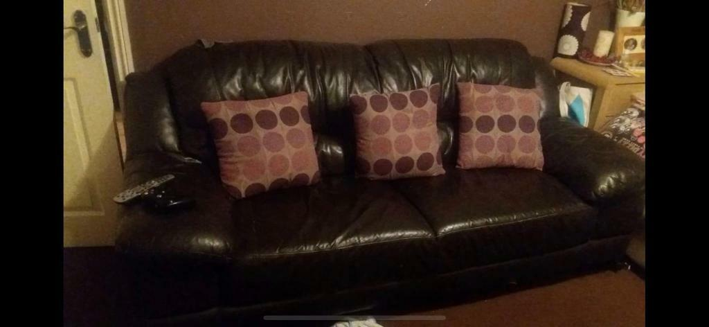 Brown leather 50 seater and 50 seater sofa | in Wombwell, South ...