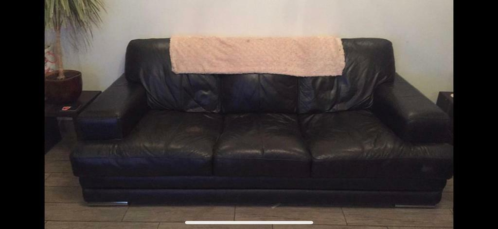 Black leather suite | in Wombwell, South Yorkshire | Gumtree