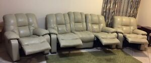 Beautiful real leather 4 recliner lounge suite / sofa set Stirling Stirling Area Preview