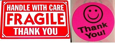 500 2 X 3 Fragile Handle With Care Label Sticker 20 Free Thank You Pink Smiley