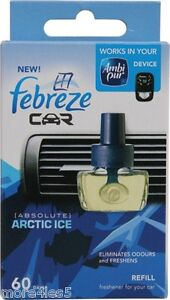 Febreze Car vent Air Freshener Arctic Ice refill refills work in AMBI PUR unit