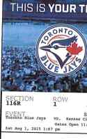 Two Blue Jays vs Royals Baseball Tickets Saturday August 1