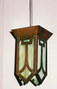 Antique (1910s) Copper & Glass Lamp, refurbished, w. Cord