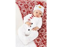 Brand New With Tags Next Newborn Snowman Unisex Suit With Hat