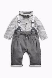 *BRAND NEW baby boy 3-6 months bow tie set with white shoes from Next*