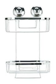 Super Suction NEXT 2 Tier Basket Bathroom Shower Storage Caddy Rack Tidy Tray
