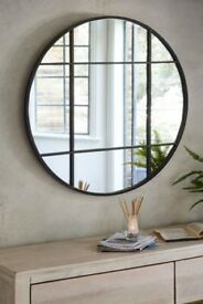 NEXT Round Metal Window Mirror - Black RRP £150 unopened