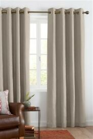 Next Pair Cotton Lined Eyelet Curtains Natural Colour 662x90""