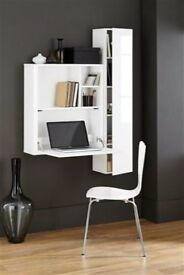 White tall wall shelf-unit - ideal for storing DVDs