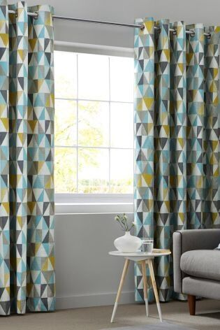 Next Geo Print Lined Cotton Eyelet Curtains 66X90 168x229cm