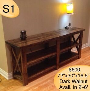 HANDMADECUSTOM BUILT SOLID WOOD TV STAND/CONSOLE/SOFA TABLES